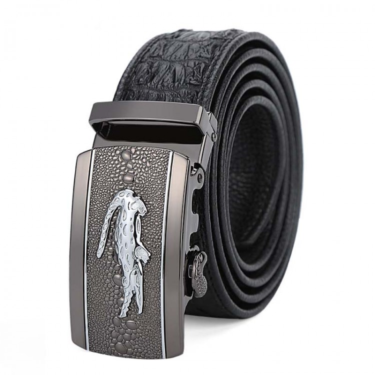 Men's Genuine Leather Belt Automatic Buckle Crocodile Grain