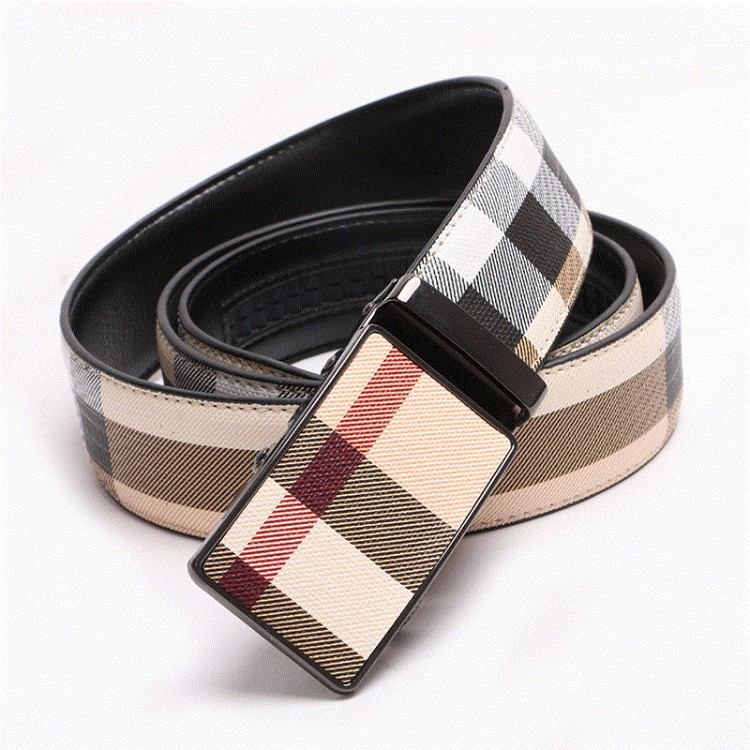 Men's Genuine Leather Belt Automatic Buckle Plaid