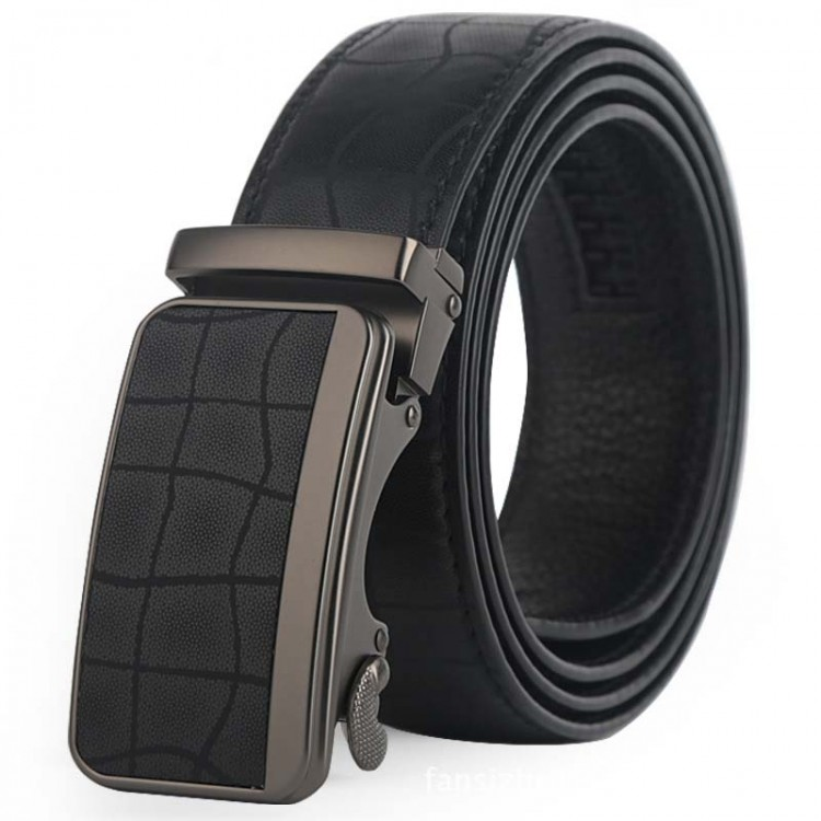 Men's Genuine Leather Belt Automatic Buckle
