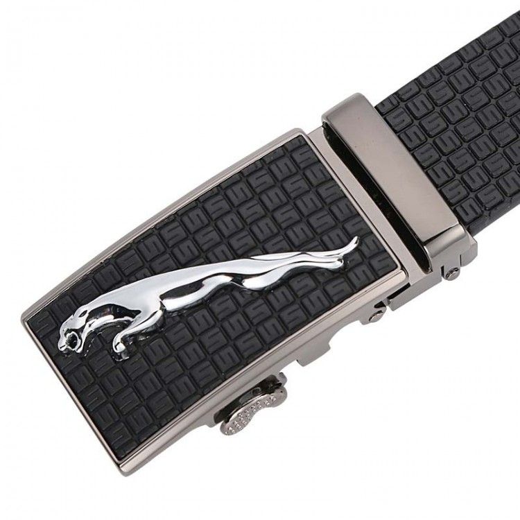 Men's Genuine Leather Belt Automatic Buckle Plaid