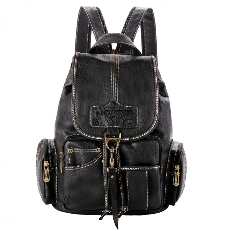 Faux Leather Vintage Waterproof Backpack B-44