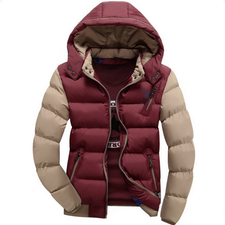 Hooded cotton-padded color-blocked  jacket