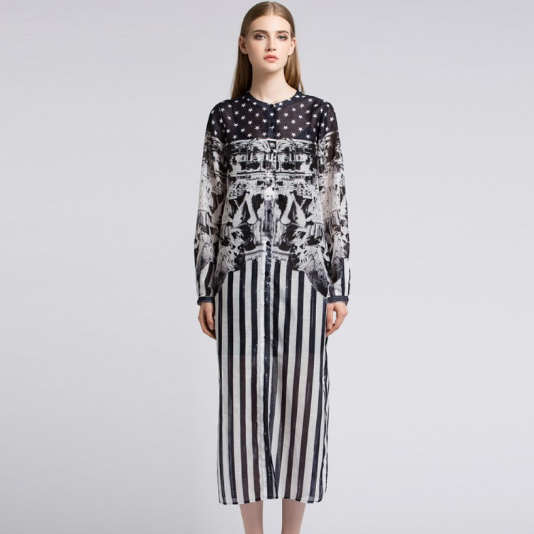 Autumn Long-sleeved Long High-end Large Size Dress Gothic Print Dress