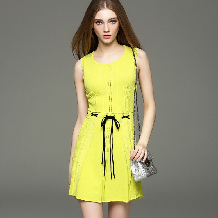 Pure Color Openwork Round Collar Knit Dress