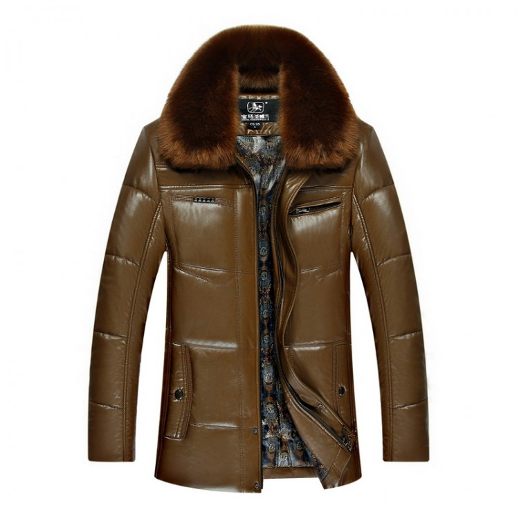Faux Leather Jacket Fur Collar