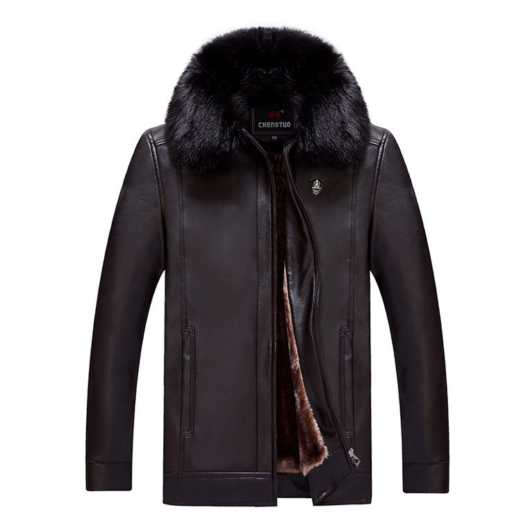Faux Leather Sherpa Jacket