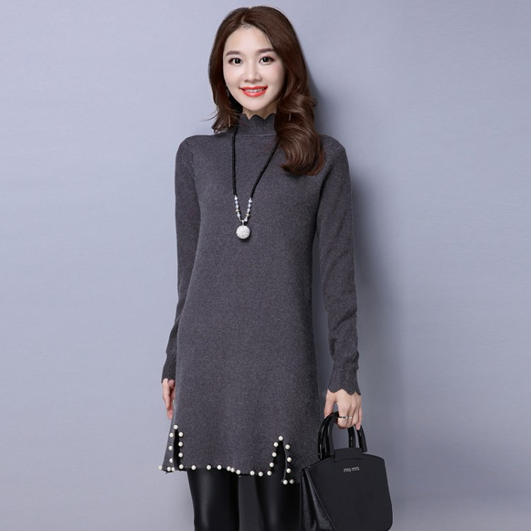 Arc collar sweater dress