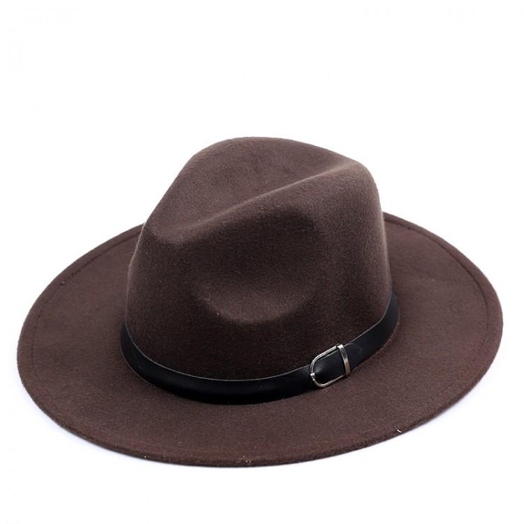 Wide-brim felt fedora hat