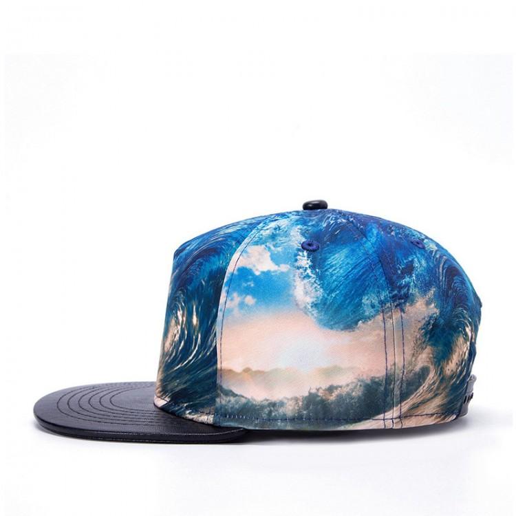 Hip-hop Hat Flat Top Baseball Cap 3D Thermal Transfer Sea Wave