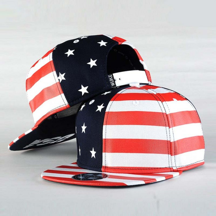 Hip Hop Hat With A Straight Visor Baseball Cap American Flag