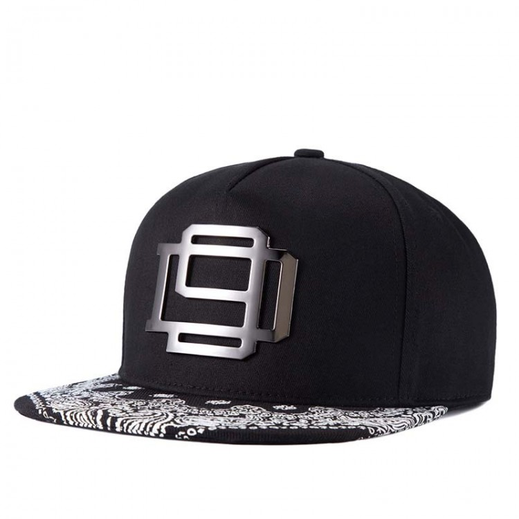 Hip Hop Hat With A Straight Visor Baseball Cap Logo Paisley Print