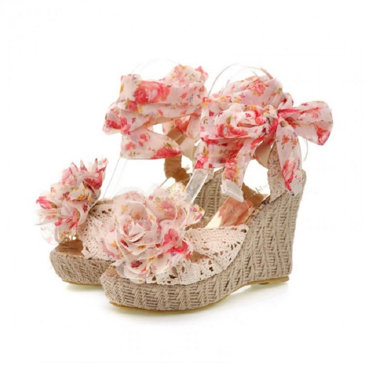 Lace-Up flower wedges