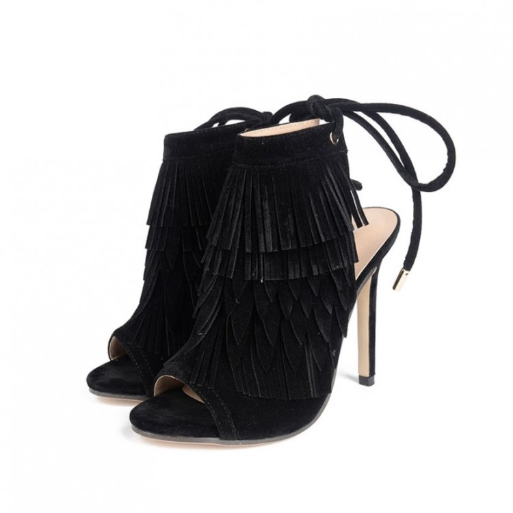 CVICV Brand Shoes Woman Summer Fringe Shoes Women Sandals Sexy Peep Toe High Thin Heel 11cm Sandals Retro Shoes LW-16