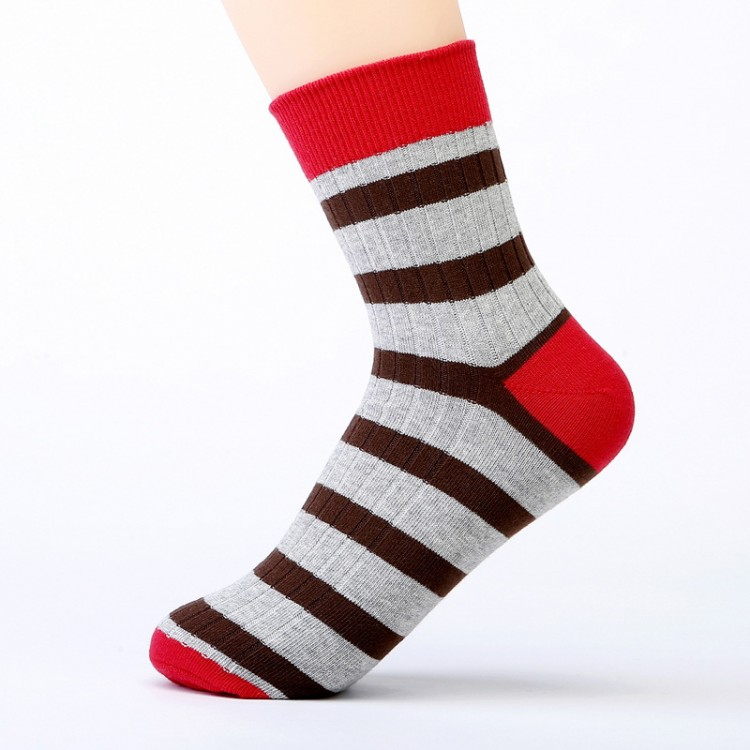 Solid Striped Cotton Retro Men Socks
