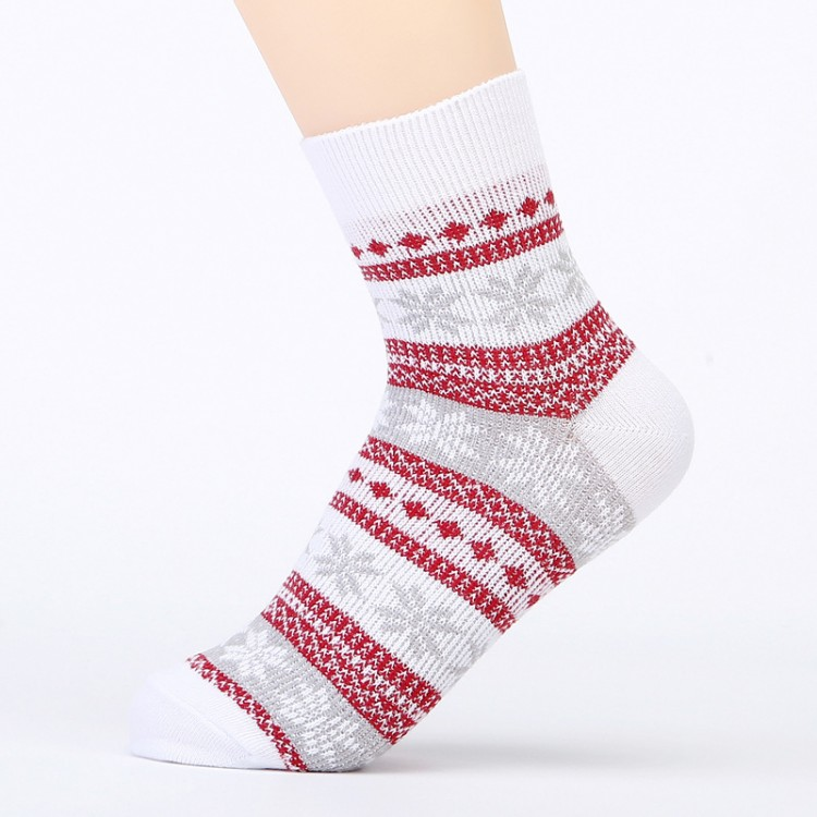 Cotton Knit Socks For Men And Women Lovers Retro Ethnic Socks Woolen Stockings Snowflakes