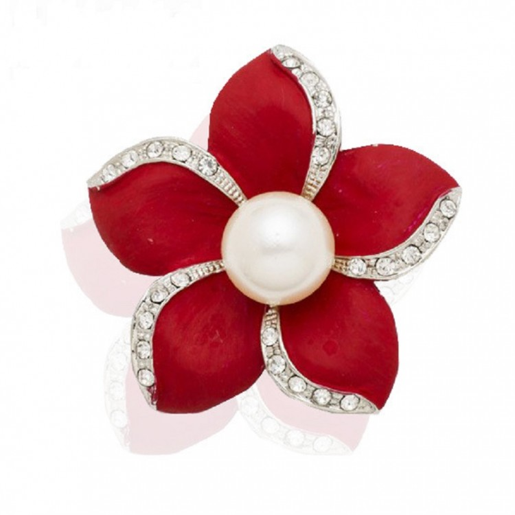 Pearl-encrusted Flower Brooch