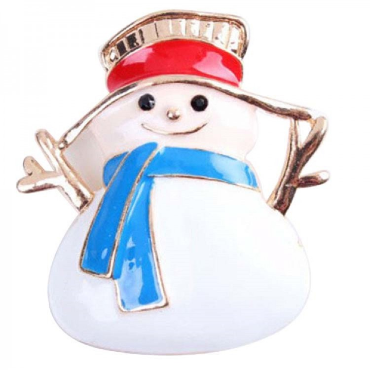 Epoxy snowman brooch