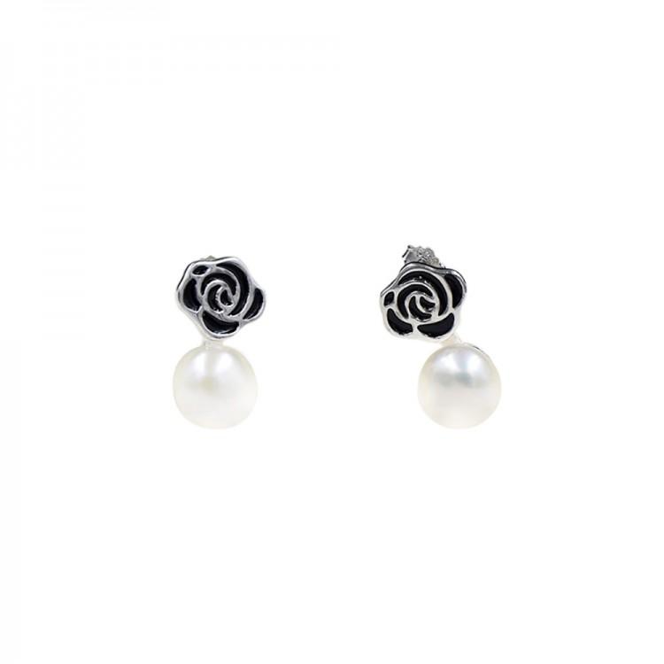 Black rose pearl earrings