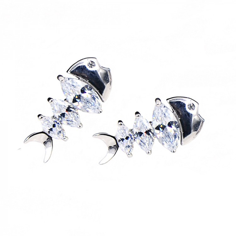 Fishbone stud earrings