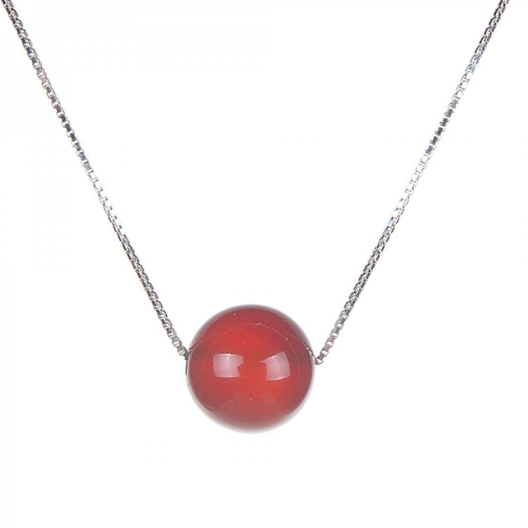 Natural Red Agate Pendant Necklace