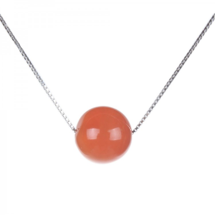 Natural Cherry Red Agate Necklace