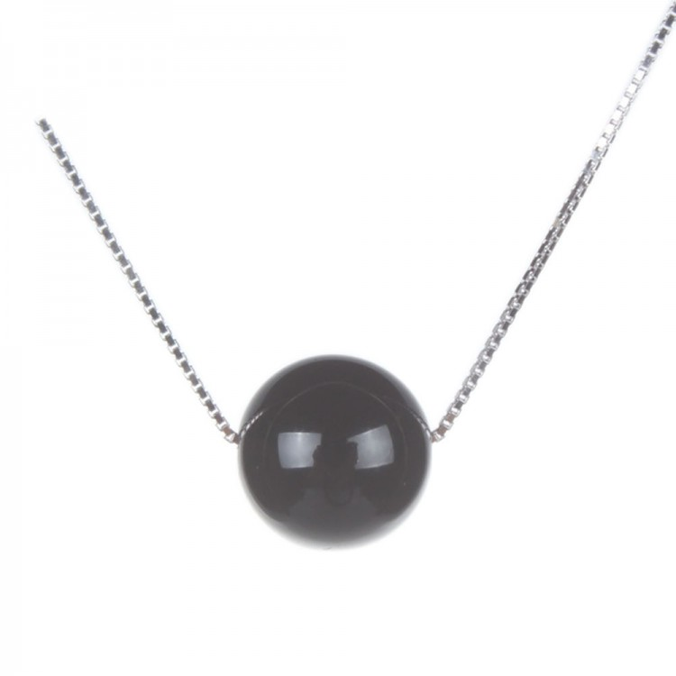 Natural Black Agate Pendant Necklace