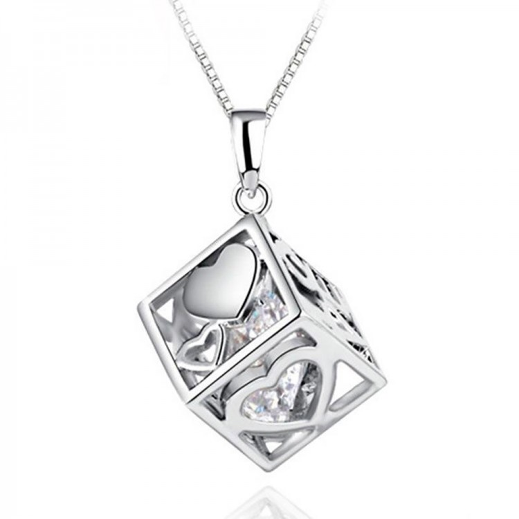 Love cube crystal pendant