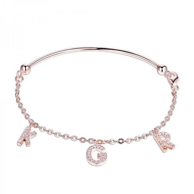 KGR Letters Diamond-Encrusted Bracelet