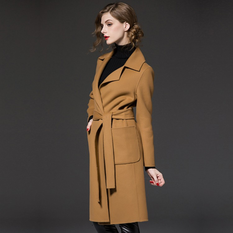 Women's Longline Wool-Blend Coat