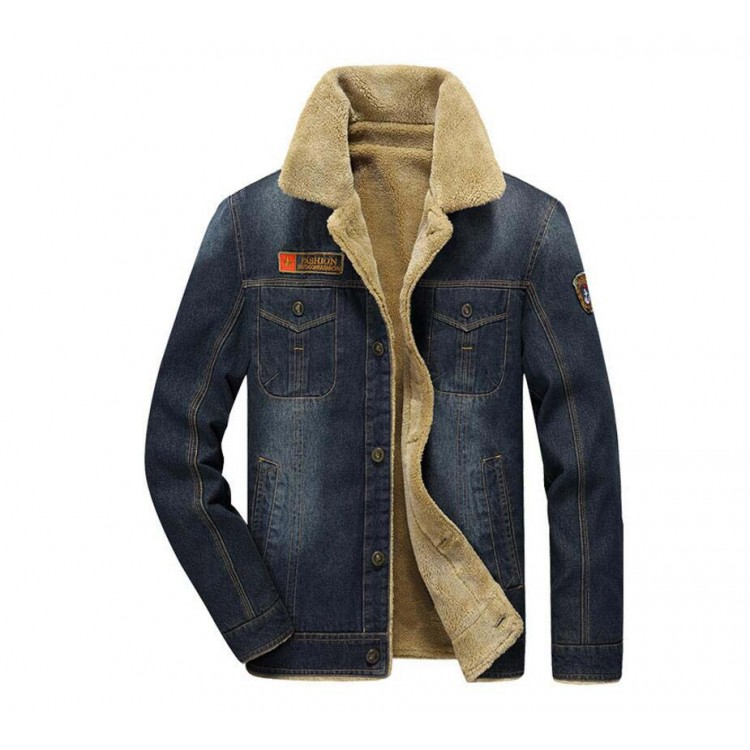 Lapel denim sherpa coat