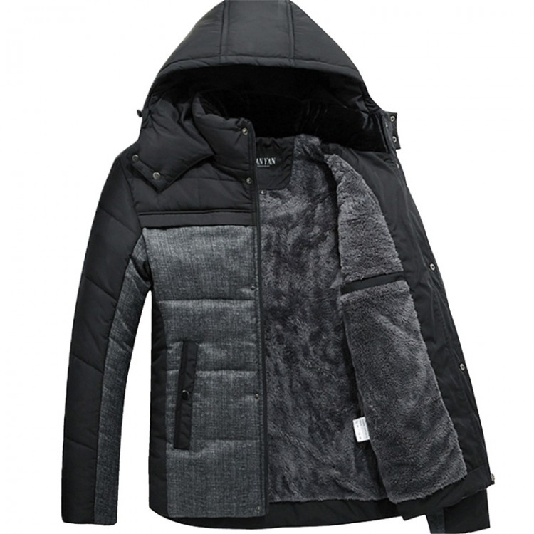 Hooded cotton-padded jacket men