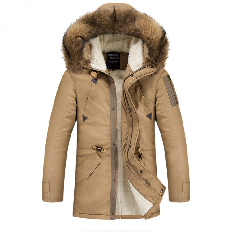 Fur hood thickening sherpa parka