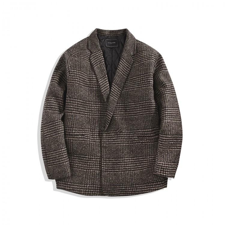 Wool-blend plaid coat