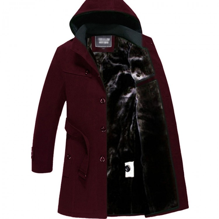 Hooded flocking trench coat