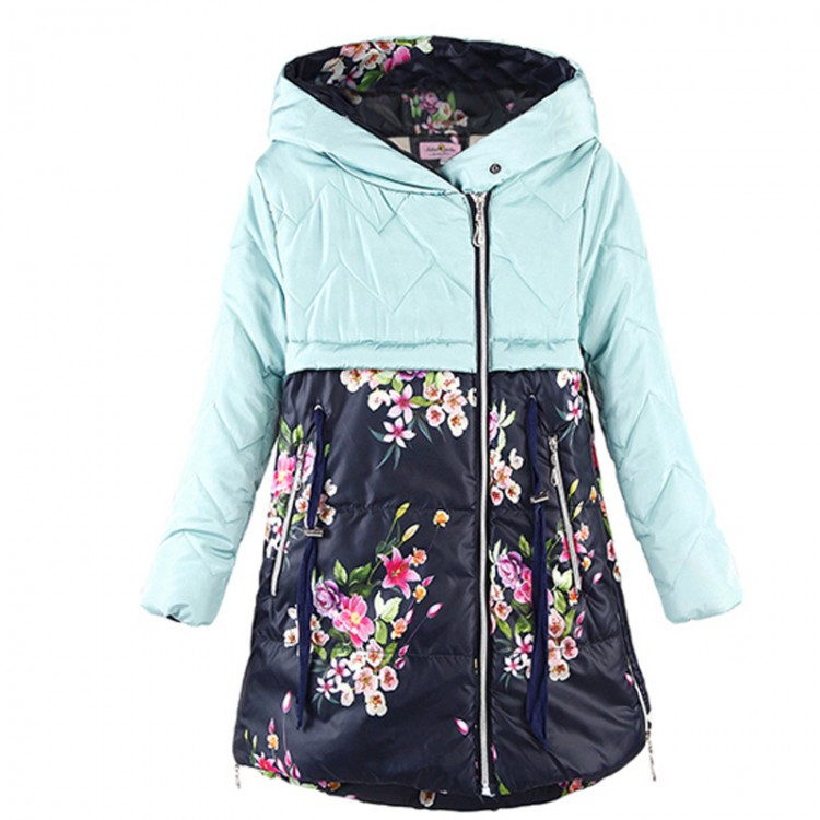 Floral print hooded down coat