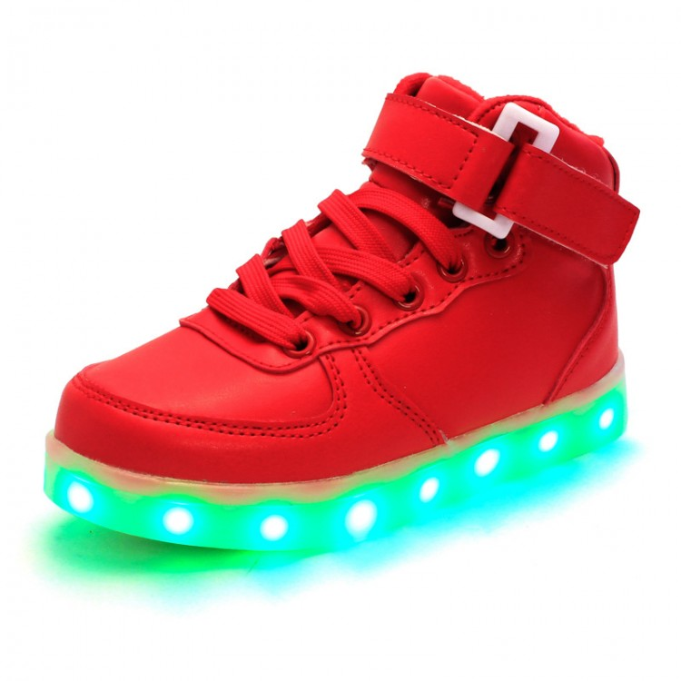 Leather led light up high tops