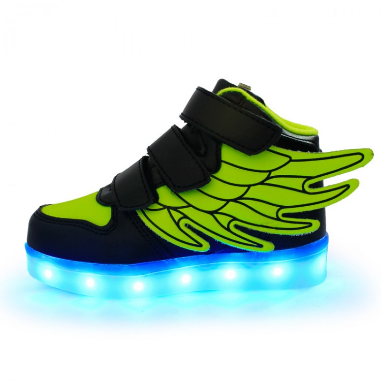 Leather led light up high tops wings