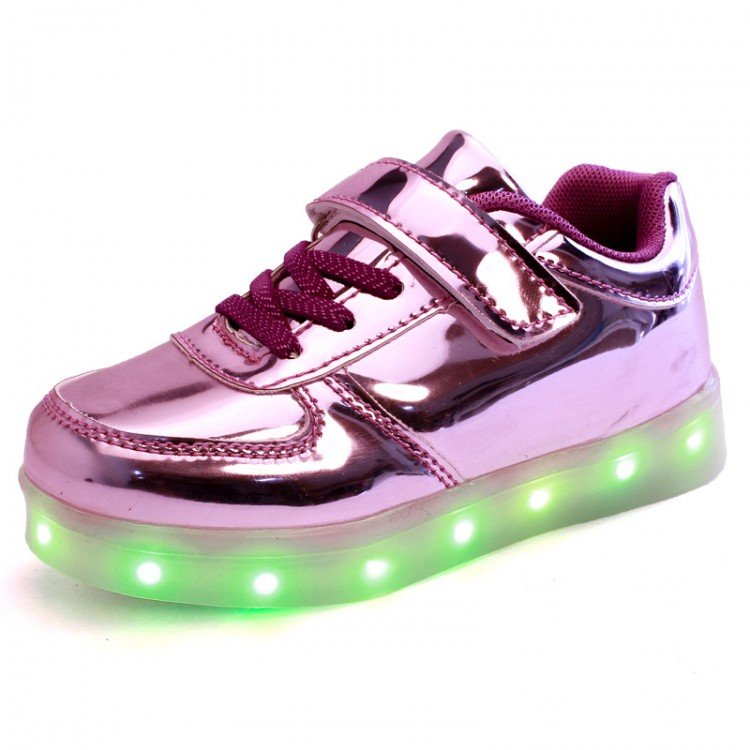 Patent leather led light up sneaker