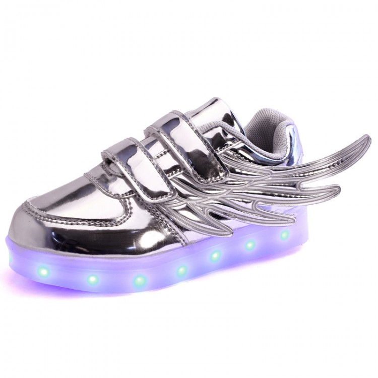 Patent leather led light up sneaker wings