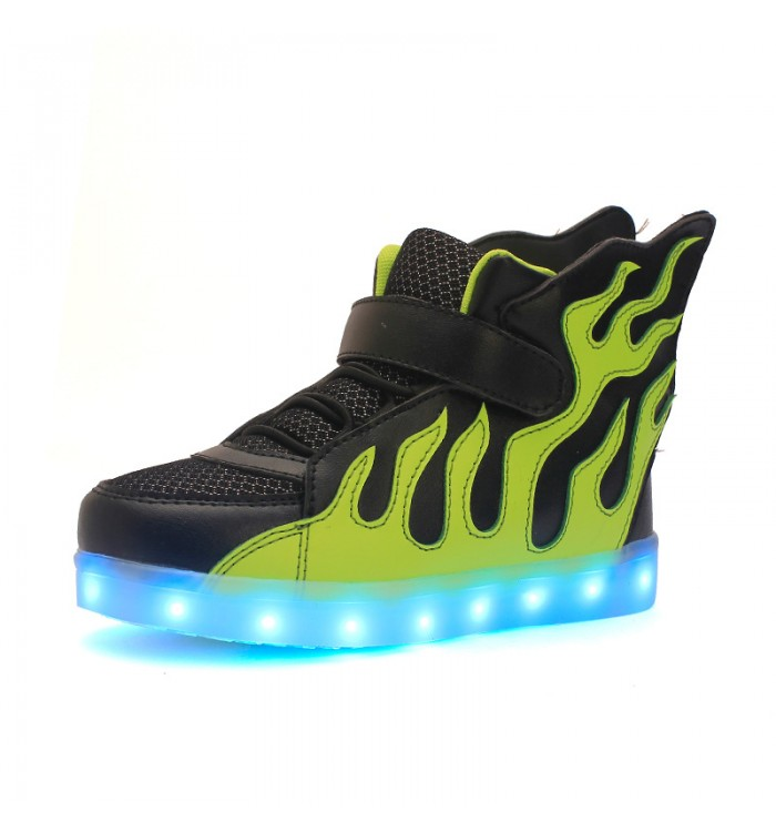 Leather led light up sneaker flame