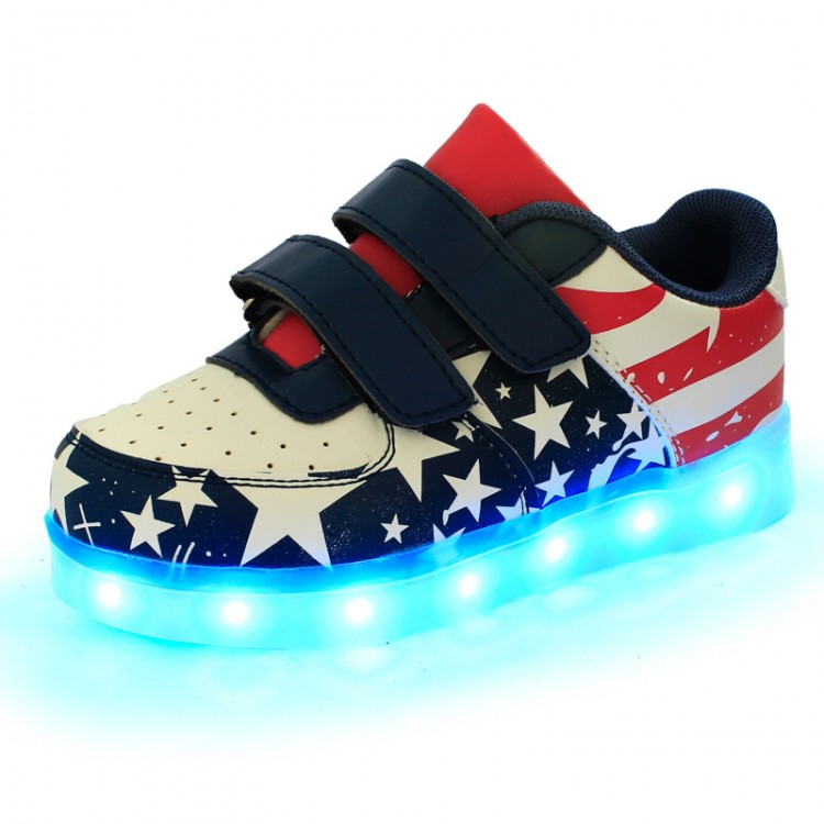 Leather led light up sneaker star