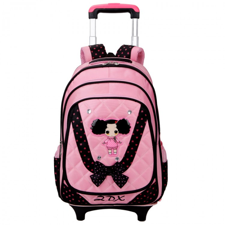 Qulited little girl rolling luggage