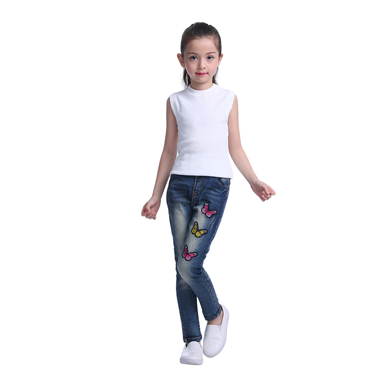 Butterfly patch pull-on jeans