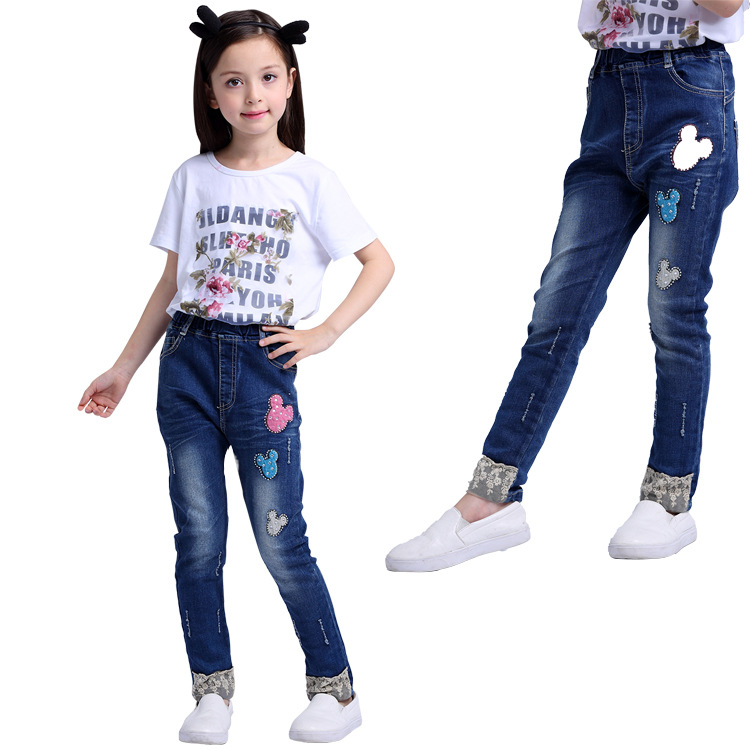 Mickey patch pull-on jeans