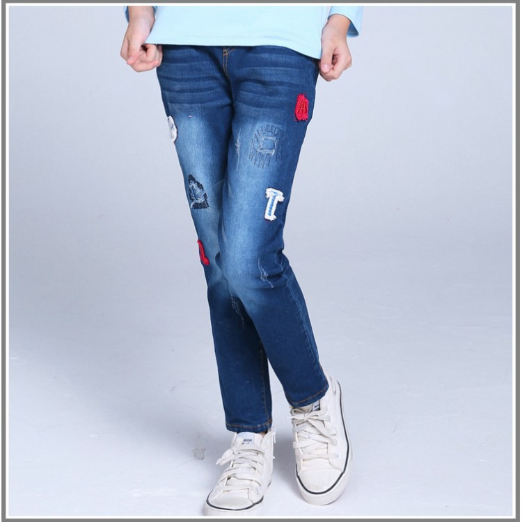 Letter patch ankle jeans