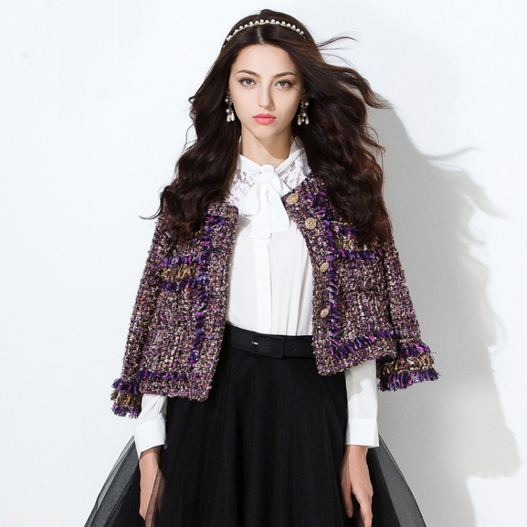Spring New Women's Long-sleeved Jacket Wool Tweed Coat