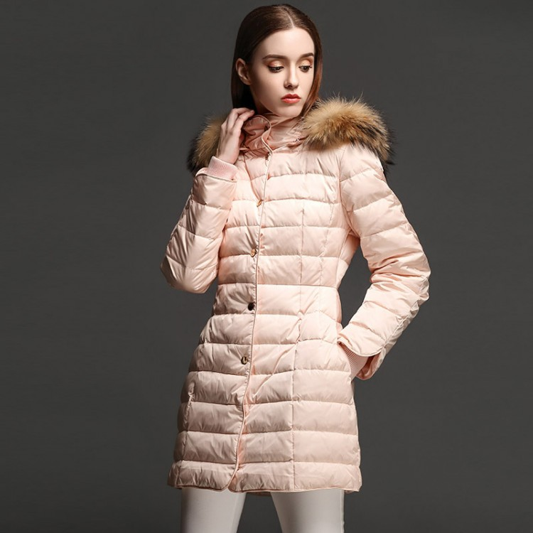 Women Winter Down Coat 80% White Duck Down