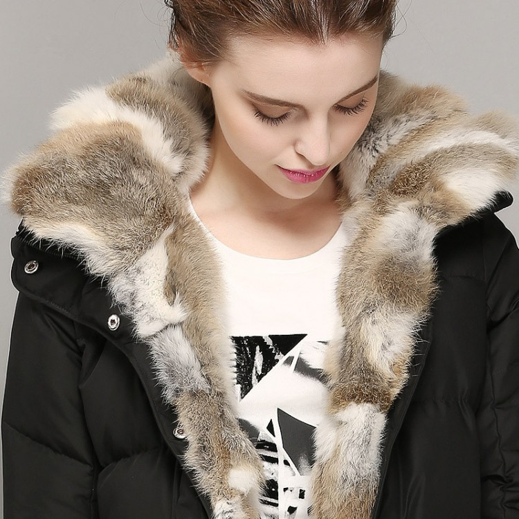 Women Winter Down Jacket 80% White Duck Down Rabbit Fur