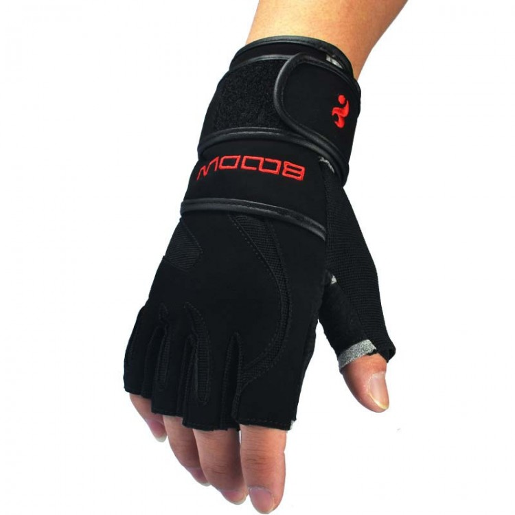 Long Wrist Fitness Gloves Non-slip Leather Palm Weightlifting Men's Training Gloves