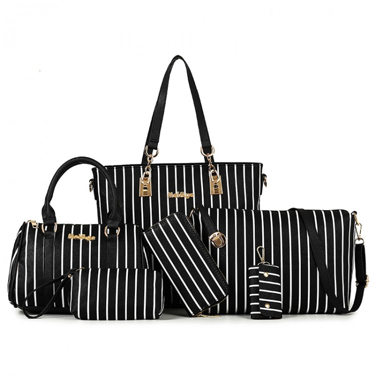 Faux leather striped tote bag